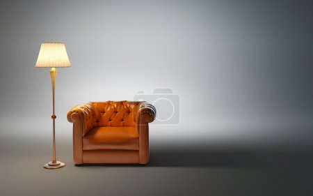 Photo for Leather armchair and classic floor lamp - Royalty Free Image