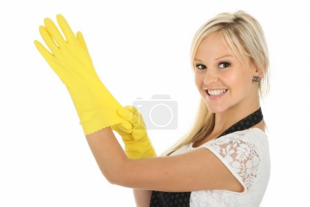 Pretty Blonde Woman in Yellow Latex Gloves