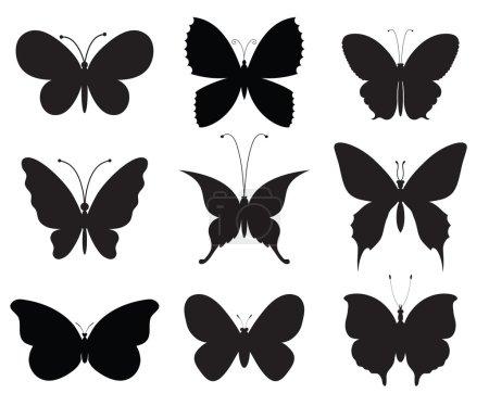 Photo pour Neuf papillons vecteurs différents, chacun sur une couche séparée . - image libre de droit