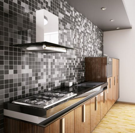 Modern ebony wood kitchen interior 3d