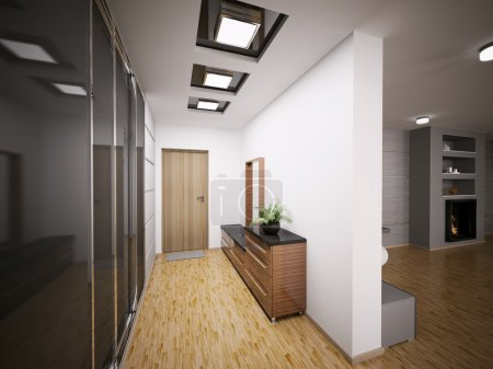 Photo for Interior of modern entrance hall in apartment 3d render - Royalty Free Image