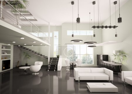 Photo for Interior of modern apartment living room kitchen 3d render - Royalty Free Image