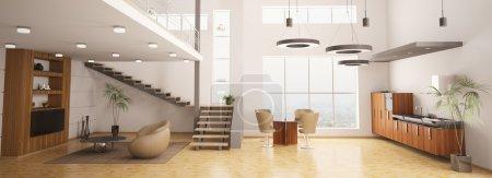 Photo pour Intérieur moderne appartement panoramique salon cuisine 3d Render - image libre de droit