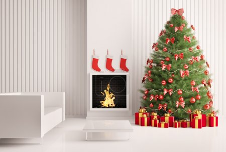 Photo for Christmas fir tree in the modern room with fireplace interior 3d render - Royalty Free Image