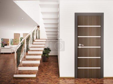 Photo pour Intérieur du hall d'accueil moderne avec escalier rendu 3d - image libre de droit