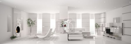 Photo for Interior of modern white apartment panorama 3d render - Royalty Free Image