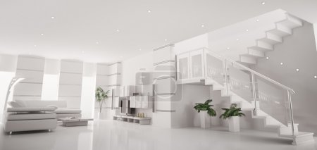 Photo for White modern apartment with staircase interior panorama 3d render - Royalty Free Image