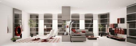 Photo pour Intérieur de l'appartement moderne panorama 3d render - image libre de droit