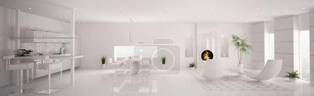 Photo pour Intérieur de l'appartement blanc moderne salon cuisine panorama 3d render - image libre de droit
