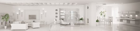 Photo for White home interior of modern apartment living room kitchen hall panorama 3d render - Royalty Free Image