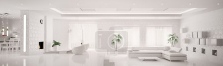 White interior of modern apartment panorama 3d render