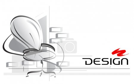 Illustration for Interior design vector illustration with office chair on foreground - Royalty Free Image