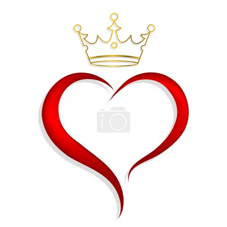 Illustration for Red heart with golden crown - Royalty Free Image