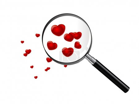 Illustration for Red hearts under magnifying glass - Royalty Free Image