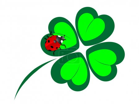 Illustration for Four leaf clover with the ladybug - Royalty Free Image