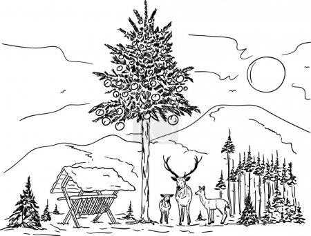 Illustration pour Vecteur - Famille des cerfs à Noël dans le paysage enneigé - image libre de droit