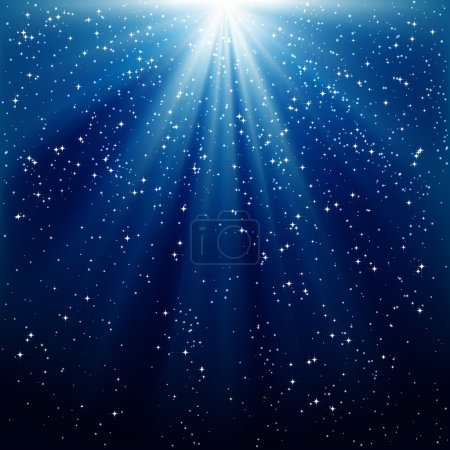 Illustration for Snow and stars are falling on the background of blue luminous rays - Royalty Free Image