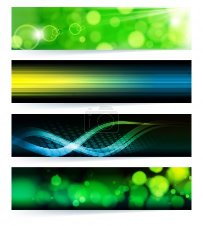 Illustration for Vector set of abstract banners. Green Design. EPS10 Vector Background. - Royalty Free Image