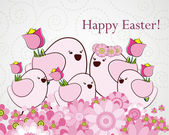 Easter greeting card with birds