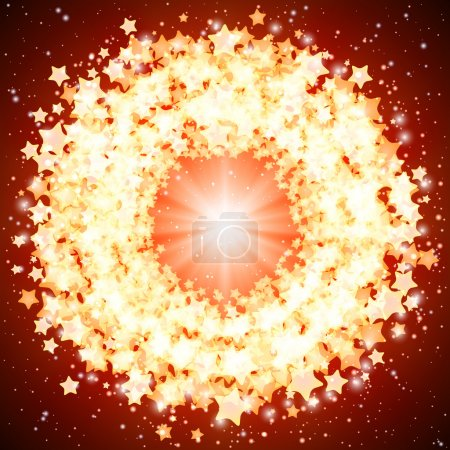 Eps10 vector star shining round frame on a on a red background.