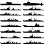 Vector illustration of various warships....