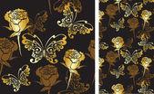 Bezešvé pozadí s růžemi a motýli