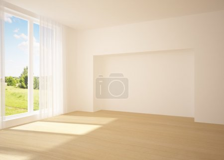 Photo for White empty room with nature view - Royalty Free Image