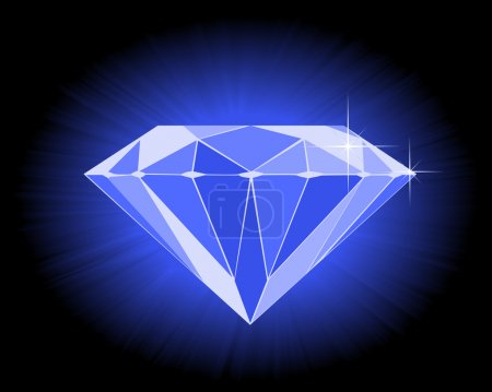 Illustration for Faceted blue diamond on an black background - Royalty Free Image