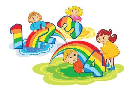 Illustration pour Enfants heureux jouent avec le nombre 1,2,3,4 fabriqué à partir d'arc-en-ciel coloré - image libre de droit