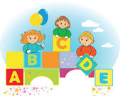 Happy kids with color letter ABCDE