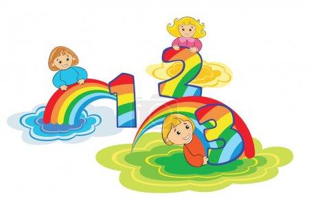 Illustration pour Numéro 1,2,3 et trop fait d'arc-en-ciel coloré - image libre de droit
