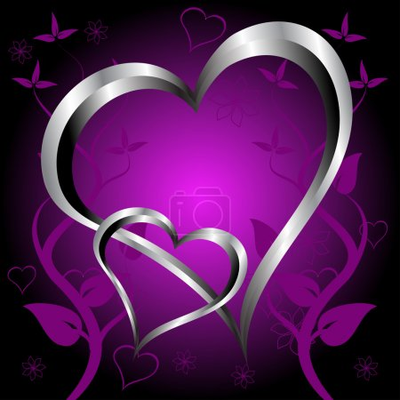 Illustration for A purple hearts Valentines Day Background with silver hearts and flowers on a darker graduated background - Royalty Free Image
