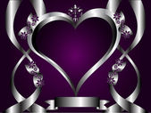 A silver hearts vector illustration with a heart shaped frame with room for text on a deep purple background