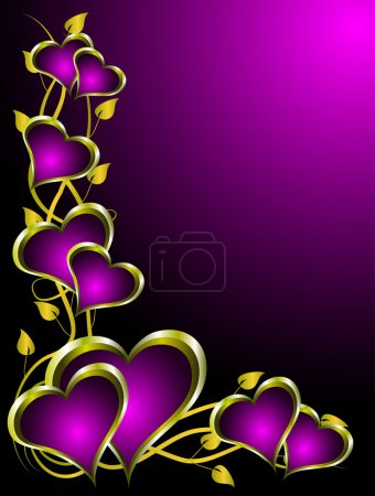 Illustration for A valentines vector illustration with gold hearts with room for text on a deep purple background - Royalty Free Image