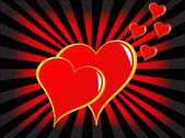 Zlaté srdce vektorové pozadí Valentýn
