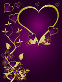 A valentines vector illustration with a heart shaped frame with room for text on a gold floral background