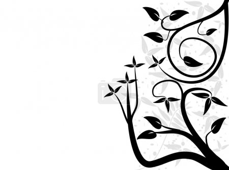 An abstract black and white floral design