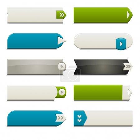 Photo pour Dix boutons d'appel à l'action, avec différents styles et formes. Fabriqué avec Global Swatches. - image libre de droit