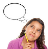 Hispanic Teen Aged Girl with Pencil and Blank Thought Bubble
