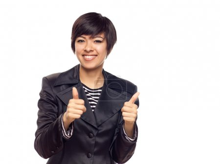 Photo for Happy Young Mixed Race Woman With Two Thumbs Up Isolated on a White Background. - Royalty Free Image