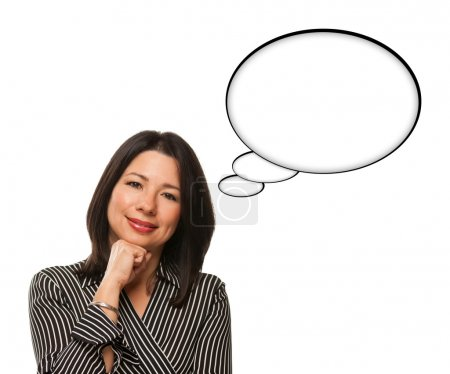 Beautiful Hispanic Woman and Blank Thought Bubbles Isolated on W