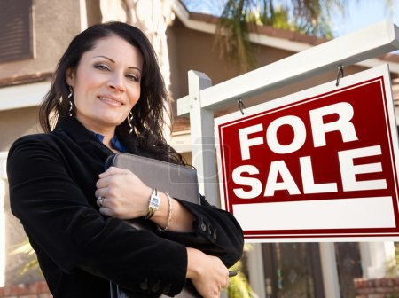 Female Hispanic Real Estate Agent, For Sale Real Esate Sign and
