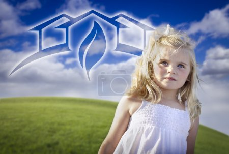 Adorable Blue Eyed Girl Playing Outside with Ghosted Green House