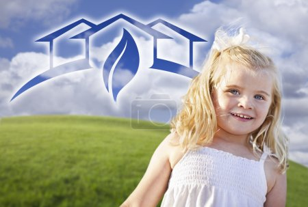 Blue Eyed Girl Playing Outside with Ghosted Green House Graphic