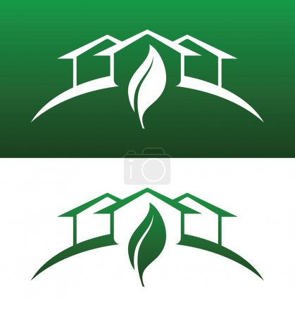 Photo for Green House Concept Icons Both Solid and Reversed for Ecology, Recycling, Company, Service or Product. - Royalty Free Image