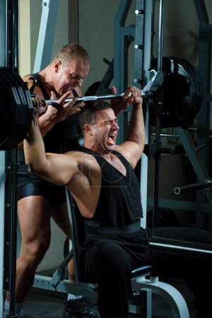 Bodybuilders training in gym