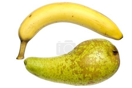 Foto de Pera verde y plátano aislado sobre fondo blanco - Imagen libre de derechos