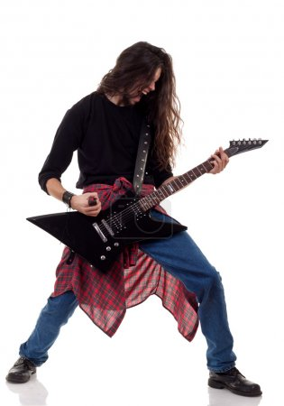 Screaming heavy metal guitarist