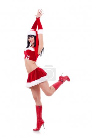 Girl as Santa dances