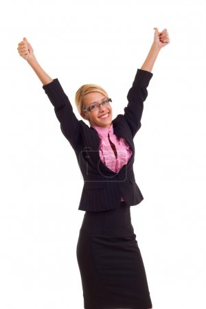 Business woman excited giving thumbs up.